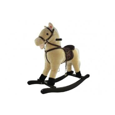 Teddies Wiky Kůň houpací béžový plyš nosnost 50kg v krabici - bez zvuku