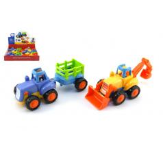 Teddies Traktor s vlekem/Buldozer plast 16cm pro nejmenší na setrvačník 6ks v boxu 18m+