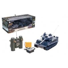 Teddies Tank RC plast 33cm TIGER I 27MHz na baterie+dobíjecí pack se zvukem a světlem v krabici 40x15x19cm