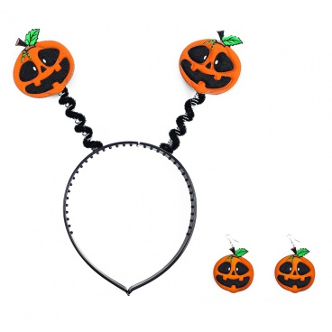 sada čelenka + náušnice dýně halloween