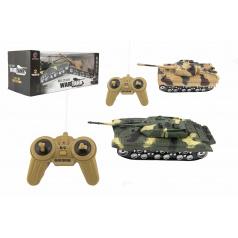 Teddies Tank RC 2ks 25cm plast tanková bitka na batérie so zvukom sa svetlom v krabici 43x17x19cm