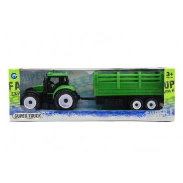 Teddies Traktor s přívěsem plast 28cm asst 2 barvy v krabičce