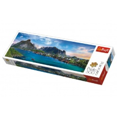 Trefl Puzzle Lofoten Archipelago, Norsko panorama 500 dílků 66x23,7cm v krabici 40x13x4cm