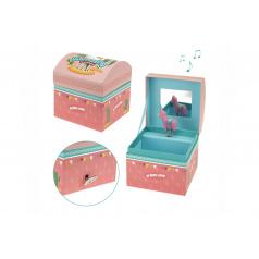 Hrací skříňka šperkovnice Lama natahovací karton 11x11x10cm ve fólii