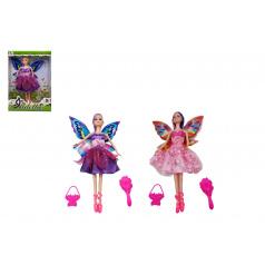 Teddies Panenka s křídly nekloubová s doplňky plast 30cm 2 druhy v krabici 20,5 x 32 x 6cm