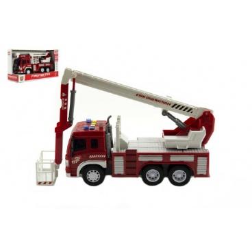 Teddies Auto hasiči plast 28cm na baterie se světlem se zvukem v krabici 33x19x12cm