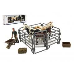 Teddies Zvieratká domáci farma plast kôň s doplnkami sada 4 druhy v krabičke 43x14x10cm