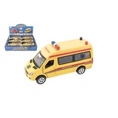 Teddies Auto ambulance kov/plast 15cm na baterie se světlem se zvukem na zpětné natažení
