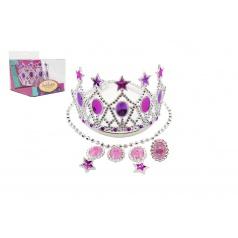Teddies Sada krásy korunka,náušnice,náhrdelník plast v krabičce 15x12x16cm karneval