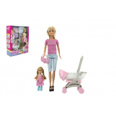 Teddies Sada panenka s holčičkou a kočárkem + doplňky plast v krabici 27x34x9cm