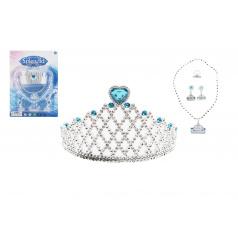 Teddies Sada krásy plast korunka, náhrdelník, naušnice na kartě 20x28cm