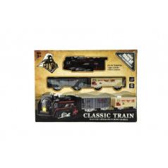 Teddies Vlak + vagónky a koleje plast na baterie se světlem v krabici 30x22x4cm