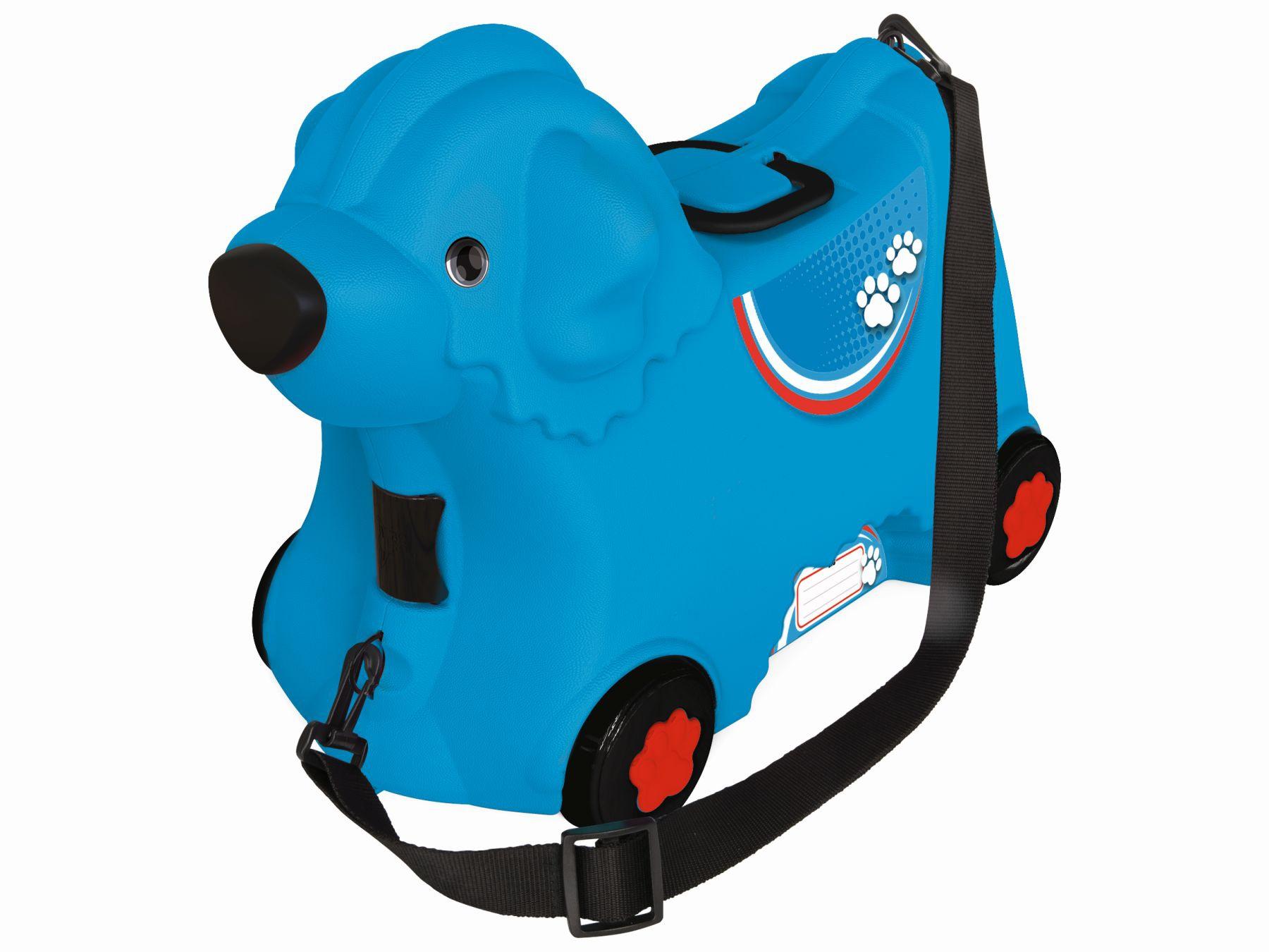 Kufřík odstrkovadlo pejsek modrý s kolečky