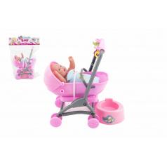 Teddies Miminko/panenka kloubová 12cm v kočárku 10x14x18cm plast s doplňky v sáčku