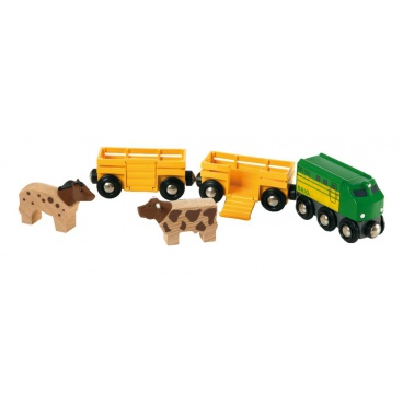 Brio Zemědělský vlak pro přepravu zvířat se 2 vagónky, krávou, koněm
