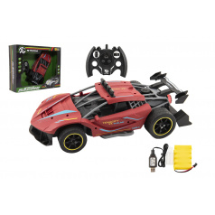 Teddies Auto RC Sport červené 33cm plast 2,4GHz na baterie + dobíjecí pack v krabici 43x36x13cm