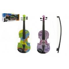 Housle/Viola plast 40cm na baterie se zvukem se světlem asst 3 barvy v krabici
