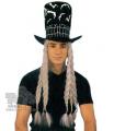Karnevalový klobouk čarodějnický dlouhé bílé vlasy