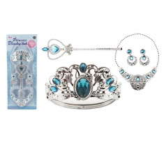 Teddies Sada krásy velká plast korunka + náhrdelník + naušnice + žezlo 4ks na kartě