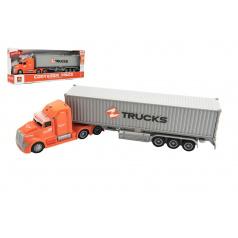 Teddies Kamion s kontejnerem plast 36cm na setrvačník na baterie se světlem se zvukem v krabici 39x15x8cm