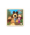 Skládačka Puzzle dřevo Máša a Medvěd s myškou 4ks 15x15cm 12m+