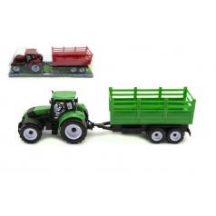 Teddies Traktor s vlečkou plast 38cm na zotrvačník asst 2 farby v blistri