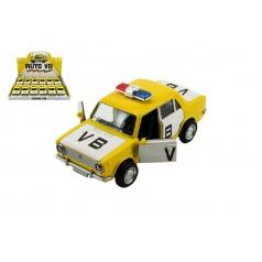 Teddies Auto policie VB Lada 1200 VAZ  kov 12cm na baterie se zvukem a světlem na zpětný chod