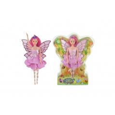 Panenka víla s křídly růžové šaty plast 30cm v blistru