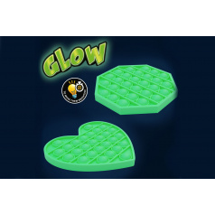 Bubble pops - Praskající bubliny silikon svítící ve tmě antistresová spol. hra 12,5x12,5cm v sáčku