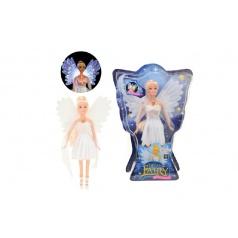 Teddies Bábika víla plast 30cm biele šaty na batérie svietiace v krabici 24x34x6cm
