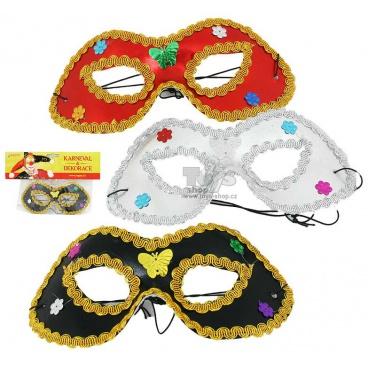 maska škraboška oční s ozdobou, assort 3 druhy