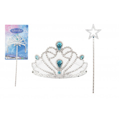 Teddies Sada krásy pro princezny plast korunka + hůlka 34cm na kartě