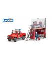 Bruder Pohotovostní vozidla - bworld požární stanice a hasičský Land Rover s hasičem