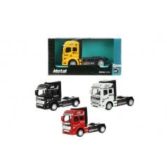 Teddies Auto nákladní tahač truck kov 10cm na zpětné natažení asst 4 barvy