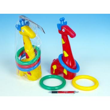 teddies Žirafa plast 33cm s kroužky asst 3 barvy v sáčku 18m+