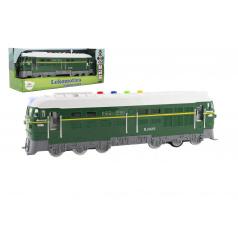 Teddies Lokomotíva / Vlak zelená plast 35cm na batérie so zvukom sa svetlom v krabici 41x16x12cm