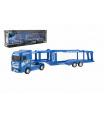 Teddies Auto kamion přepravník plast 35cm na setrvačník na baterie se světlem se zvukem v krabici 40x13x9cm