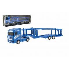Teddies Auto kamión prepravník plast 35cm na zotrvačník na batérie so svetlom so zvukom v krabici 40x13x9cm