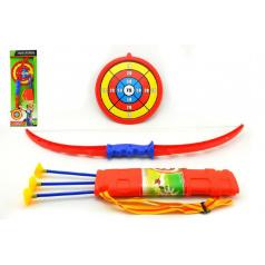 Teddies Luk 71cm +3 šípy v pouzdře + terč plast v krabici