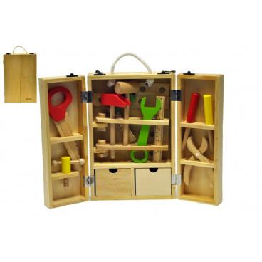 teddies Nářadí dřevo 30ks v dřevěném kufříku 31,5x20,4x7,7cm