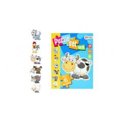 Puzzle zvířátka farma 6ks v krabici 14x19x4cm 18m+