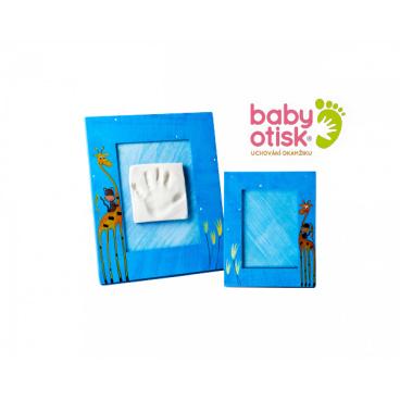 BABY OTISK - Sada pro otisk s ručně malovaným rámem a rámečkem na foto – modrá