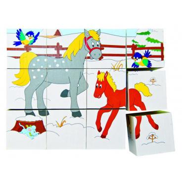 Woody brázkové kostky Kubus 3x4 - Zvířátka v ročních obdobích