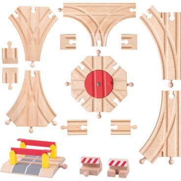 Woody Příslušenství k vláčkodráhám - Rozšířený set kolejí: výhybky, koncovky, točna