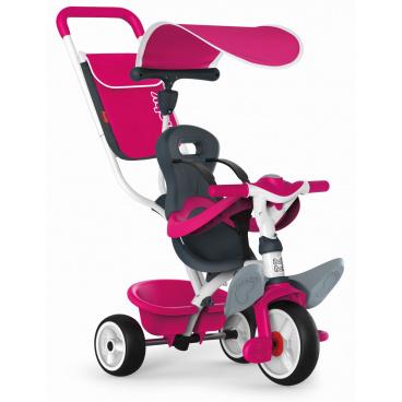 Smoby Voyager Smoby Tříkolka Baby Balade 2 růžová, stříška, taška