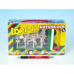 LORI Stavebnica LORI 11 Autoškola Dopravné značky 16ks + 2 kužele + auto plast v krabici 22x13x6cm