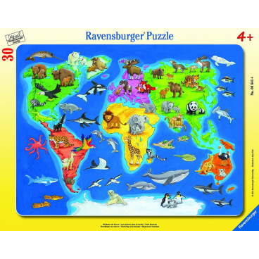 Ravensburger dětské puzzle Mapa světa se zvířaty 30-48d