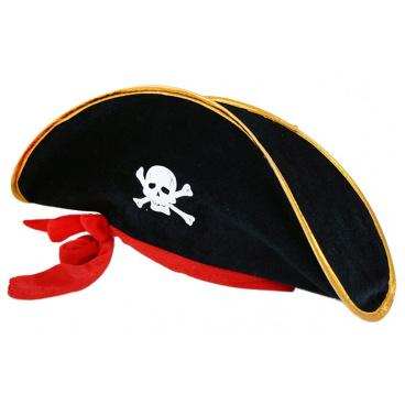 Rappa Klobouk kapitán pirát se stuhou pro dospělé
