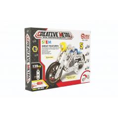 Teddies Stavebnica kovová motorka 139 dielikov v krabici 26x20x4cm
