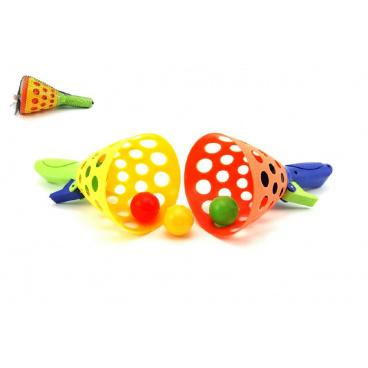 Teddies Catch ball hra 2ks + 3 míčky plast 19cm v síťce